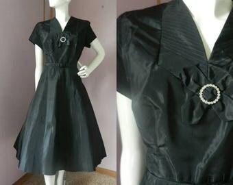 50% Off Closing Shop Sale Vintage 1950's Black Fit & Flare Party Dress / Rhinestone Detail / Belted / Madmen / LBD Little Black Dress / Form