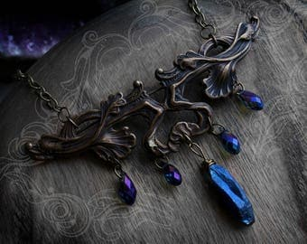 Lady of the Lake - one of a kind French antique art nouveau necklace with iridescent charms and blue titanium aura wire-wrapped crystal