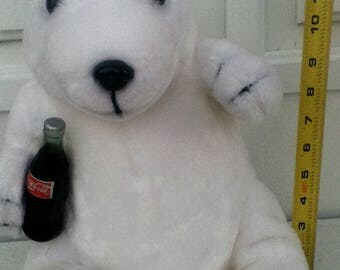 "Coca Cola Polar Bear Miniature 7"" with a coke. Vintage Coca Cola 90s."
