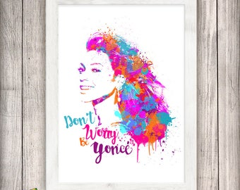 Beyonce Poster, Beyonce Print, Watercolor Art, Abstract, Illustration Print, Wall Decor, Celebrity Art, Lyrics, Bey, Digital Download
