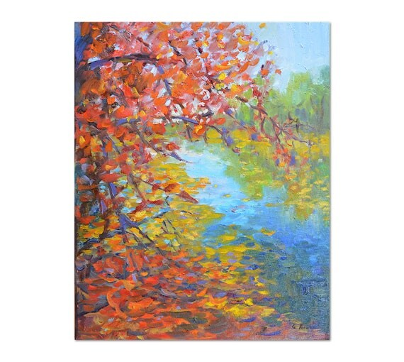 New England fall oil painting, Autumn landscape,Autumn trees, Impressionist art,Rustic Original painting Pond reflection large 20 X 16