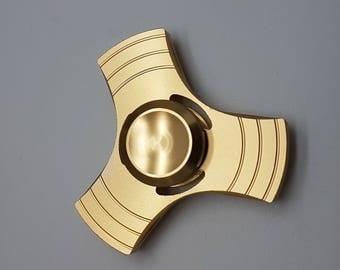 Tri Fidget Spinner EDC Aluminium Alloy Premium Quality Gold With Gift Box AQ-Gld