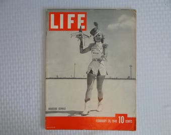 "Vintage 1940 Life Magazine Wartime Issue February 26 ""Roadside Service"" - Car Hop - Germany destroys Poland"