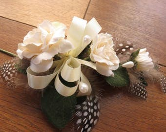 Flower Corsage, Cream Roses. Wedding, Prom or Event.