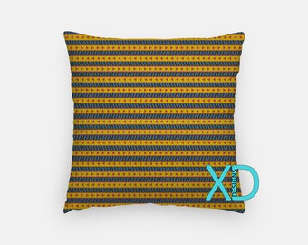 Triangle Pillow, Tribal Pillow Cover, Strip Pillow Case, Orange, Blue Pillow, Artistic Design, Home Decor, Decorative Pillow Case, Sham