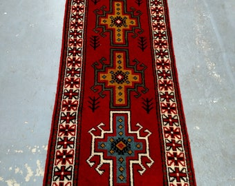 Persian Rug - 1980s Hand-Knotted, Vintage Ghouchan Rug Runner (3685)