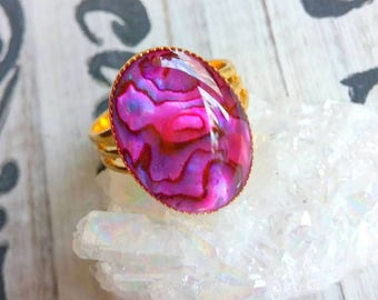 Pink Paua Shell Ring, Adjustable Ring,Boho Jewelry, Stocking Stuffer, Gifts for Her