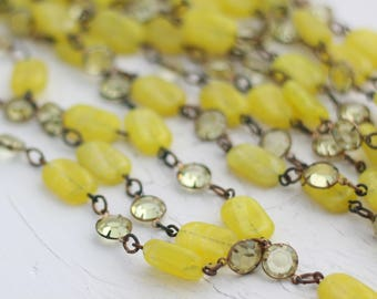 Vintage Glass Bead Chain - Yellow Glass Beads, Lemon Rhinestones - Per 1 Foot