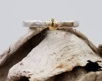 14k Yellow Gold Ball and Sterling Silver Ring
