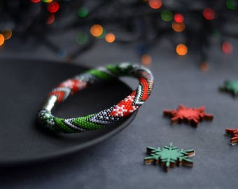Bead Crochet Christmas Bracelet Christmas Party Bangle Christmas Photosession Family Look New Year Gift Snowflake Pattern