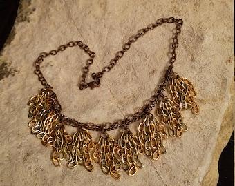Copper Tones Chain Fringe Collar