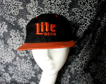 Miller Lite Beer Vintage 90s Snapback Baseball Cap. Miller Beer Black Orange Hipster Hat. 90s Miller Lite Beer Hat