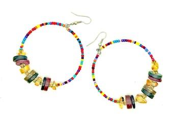 Gypsy colors big hoop earrings