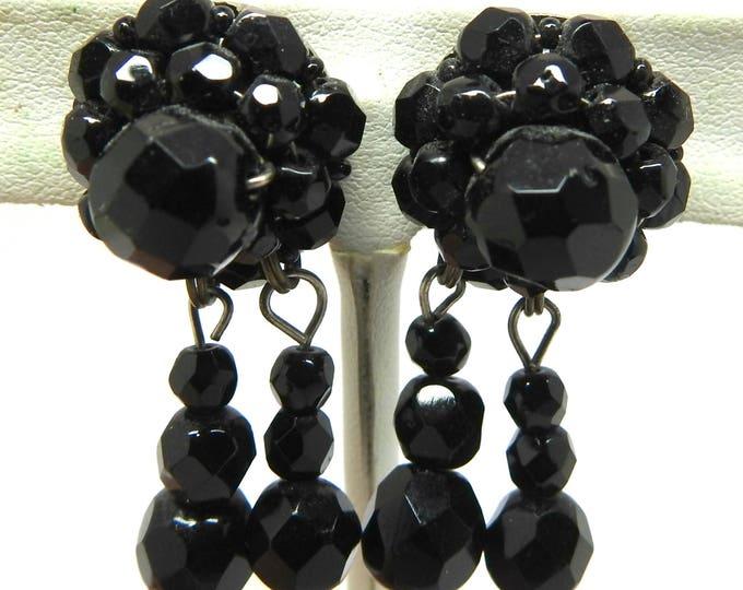 BLACK CLIP ON drop earring for non pierced ears
