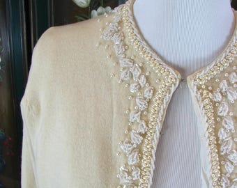 1950s Ivory Lambswool Hand Beaded Sweater.........  Hong Kong ........sz  Medium