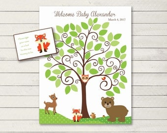 Baby Shower GuestBook Woodland Animals -11x14 Sign-In Tree- Baby Shower Guest book Alternative-50 leaves-READ DESCRIPTION -deer-fox-bear-owl