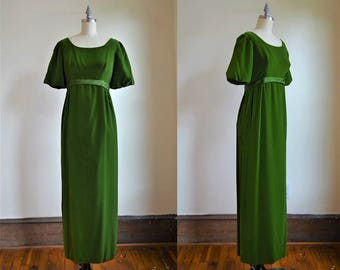1960s Beautiful Green Velvet Gown with Empire Waist & Puffed Sleeves
