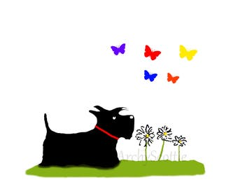 Scottie Dog 'Butterflies' Art Print #173 Scottish Terrier