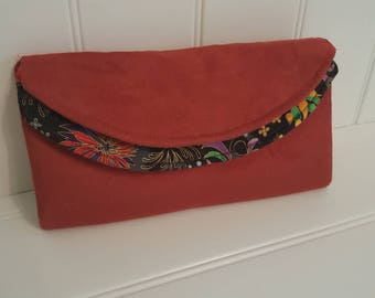 Faux suede and cotton multi pocket clutch wallet.