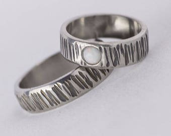 OPAL hammered WEDDING band, Womens or Mens HANDMADE simple bark band, band for him, for her, for woman, man, for lady - Wood line with opal