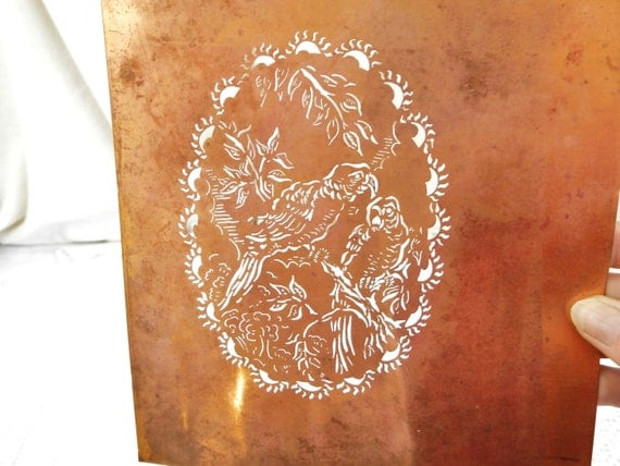 Antique French Copper Sheet Parrot Pattern Stencil, Vintage Craft Supply for Stenciling from France, Printing Victorian Greeting Card Making