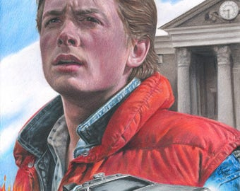 Drawing Print of Michael J. Fox as Marty McFly with the Delorean in Back To The Future