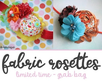 10 Fabric Rolled Rosettes - Grab Bag of Random Prints and Colors