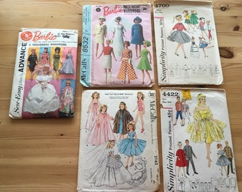 5 Vintage Barbie Ken Fashion Doll Clothing Patterns 1950-60s McCalls Simplicity, Home Made Doll Clothes, Wedding Dress, Trousseau Wardrobe