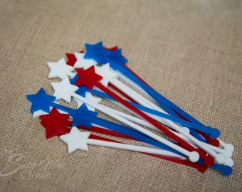 20 Patriotic 4th of July Party Drink Stirrers Red White Blue Stars Laser Cut Drink Stirrers Swizzle Sticks