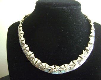 Vintage Brookraft Silver tone Metal Choker Necklace