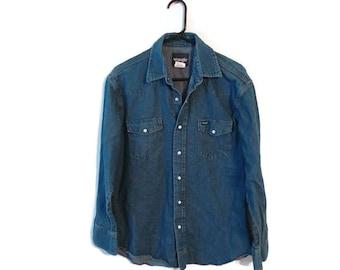 Vintage Wrangler Shirt Size 16.5/34 Large Chambray Mens Blue Jean Denim Pearl Snap