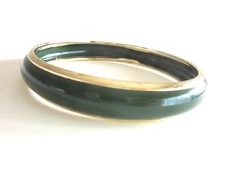 Enamel Bangle Dark Green & Gold Tone Average Size