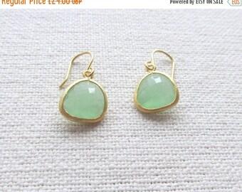 Mint Green Dangle Earrings, Gold Dainty Earrings, Minimalist Modern Bridal