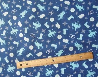 Blue Cowboy/Rodeo Riley Blake  Flannel Fabric  by the Yard