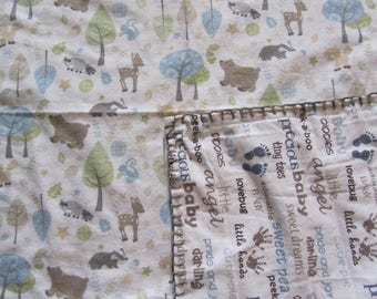 Cream Woodland Animals/Skunk/Bear/Deer  and Baby Word Phrases Double-sided Flannel Baby/Toddler Blanket