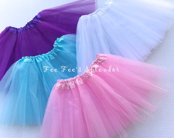 Tulle Tutu Skirt- Baby- Toddler- Your choice of colors- Double layered tutu skirt- Ballerina skirt- Pink, Purple, White, Red and Aqua