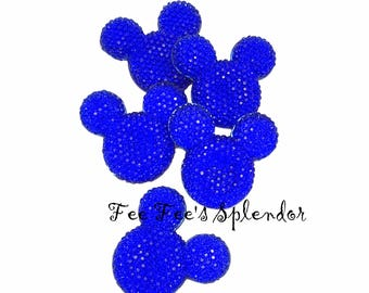 Set of 2 - Mickey Minnie Mouse Rhinestone Flatback * Royal Blue * flat back resin - Hair bow Center