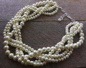Ivory Chunky Pearl Necklace, Multi Strand Necklace Wedding Necklace, Pearl Statement Necklace on Silver or Gold Chain