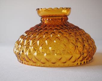 Fenton Quilted Amber Glass Lamp Shade Reproduction 9 3/4 Fitter