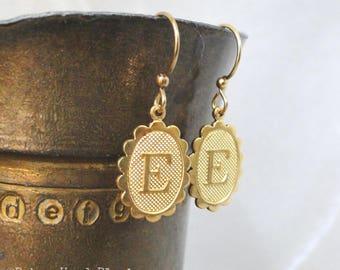 Letter E Earrings Simple Bright Brass Oval Dangles