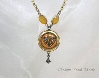 Haunted Necklace Antique Magazine Illustration & Chalcedony Victorian Gothic in Vintage Brass