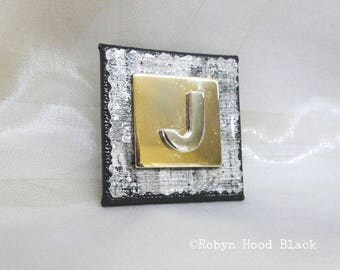 Letter J Silver and Gold Vintage Metal Letter Magnet 2 X 2