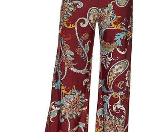 FLORAL PAISLEY PALAZZO, Floral Printed High Waist Palazzo Pants with unfinished hem.