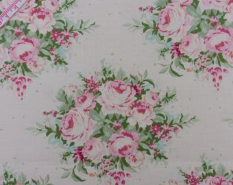 "Tilda Floribunda Dove White Fabric / ""Sweetheart"" Collection - Half Metre/0.54yard"