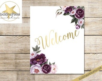 WELCOME SIGN, purple floral welcome to the party sign, digital sign 8x10 _1308