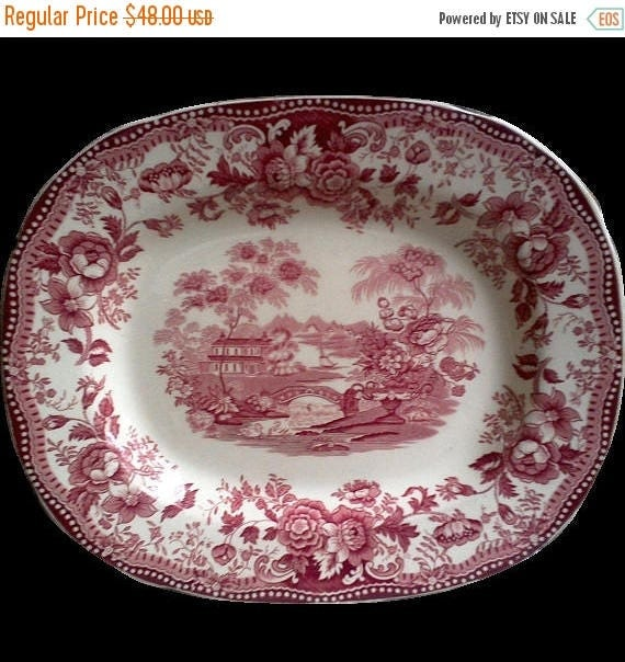 SALE Platter, Red Transferware, Clarice Cliff, Royal Staffordshire, English Transferware, Tonquin, 1930s, Serving