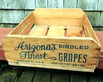 Wooden Crate Arizona Grape Crate Primitive Wood Storage Farmhouse Rustic Box Cabin Decor Fruit