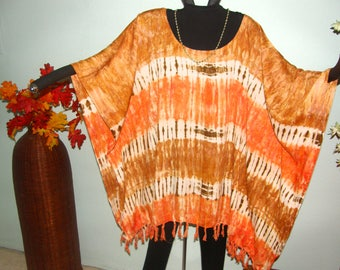 Desert Sand Tie Dye Plus Size Tunic Poncho or Dress - Great desert colors with tie dye stripes and great fringed hemline