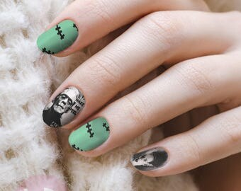 Nail accessories etsy frankenstein nail decal nail designhalloween nail art nail design nail accessories prinsesfo Image collections