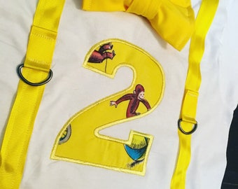 Curious George Birthday Shirt w/ Custom Number Applique- monkey theme birthday shirt-custom faux suspenders and bowtie & name-Curious George